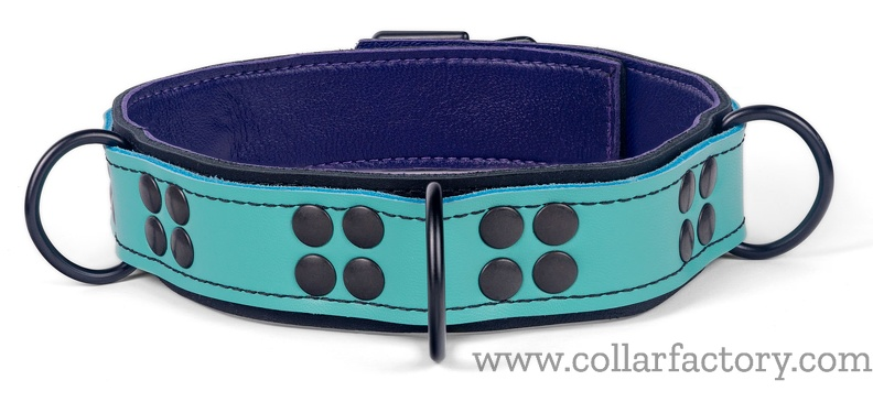 Turquoise leather with 3 reinforced attachments