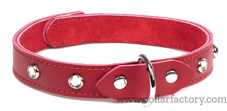 Red collar with clear gems