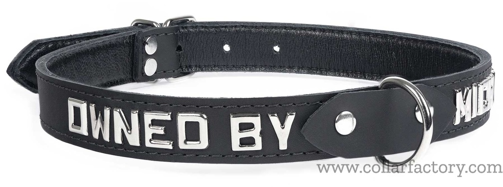 Black collar with lettering
