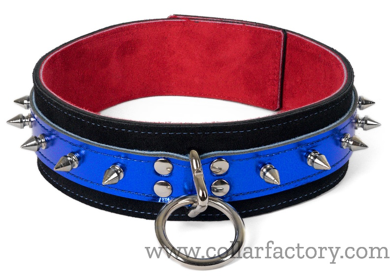 Blue Metallic Collar with spikes