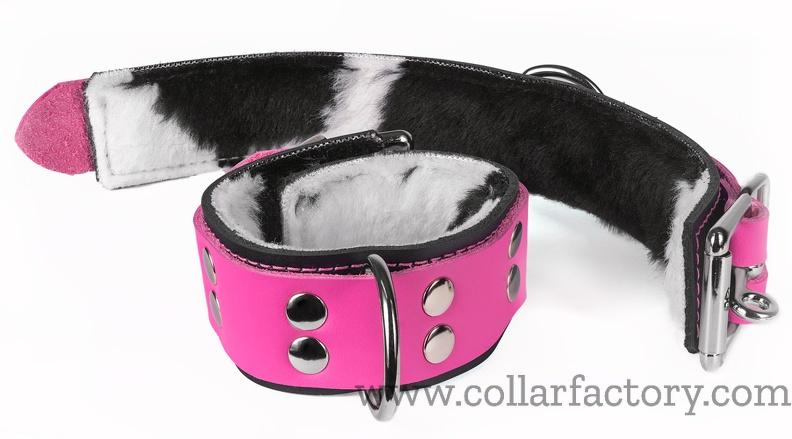 pink cuffs with cow fur lining