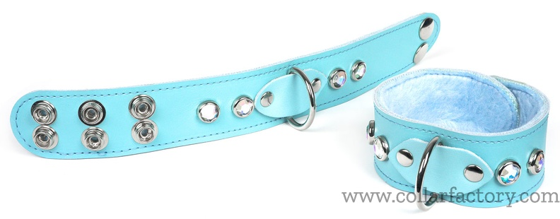 baby blue cuffs with snaps
